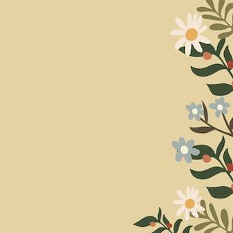 Kremowe tło kwiatowy, estetyczna granica doodle w wektorze tonu ziemi