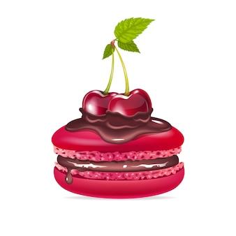Kremowy deser z realistyczną ilustracją czekolady i wiśni
