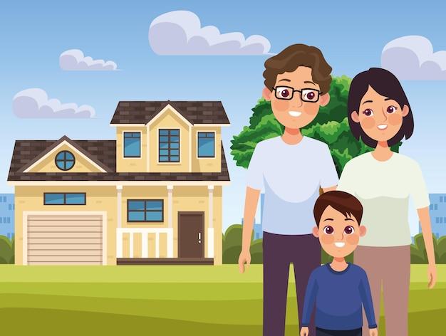 Kremowy dom i rodzina
