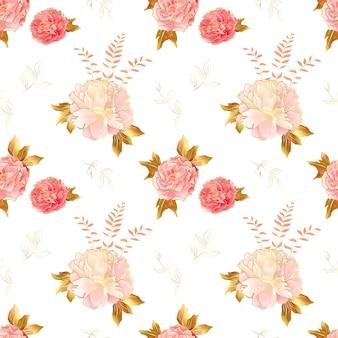 Kremowy różowy wzór millefleurs z kwiatami piwonii
