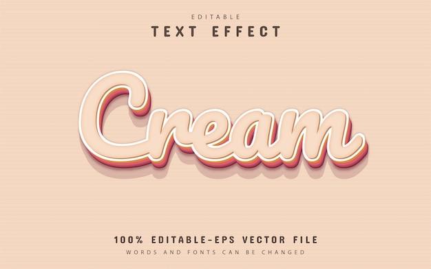 Kremowy tekst, edytowalny efekt tekstowy 3d