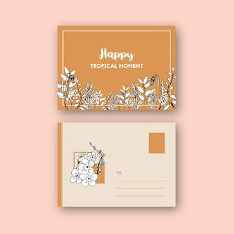 Kreskowej sztuki tropikalny pocztówkowy projekt z kwiatami i liśćmi wręcza patroszoną ilustrację.