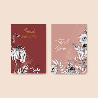 Kreskowej sztuki tropikalny ramowy projekt z kwiatami i liśćmi wręcza patroszoną ilustrację.