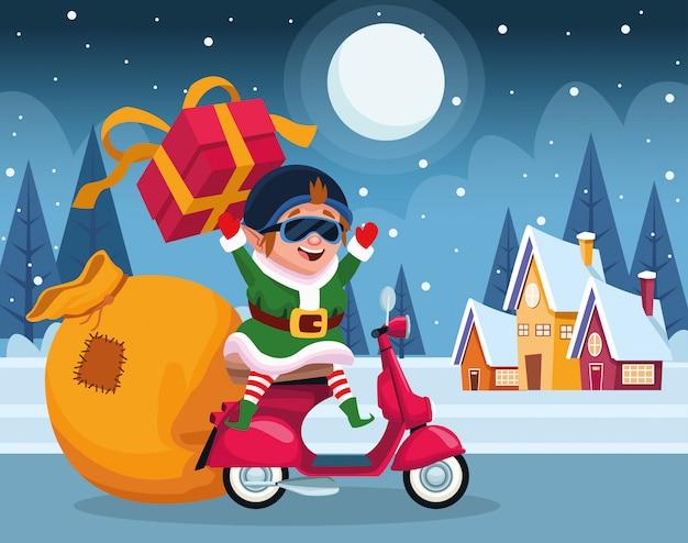 Kreskówek bożych narodzeń elf na motocyklu z prezenta pudełkiem nad zimy nocą, kolorową, ilustracja