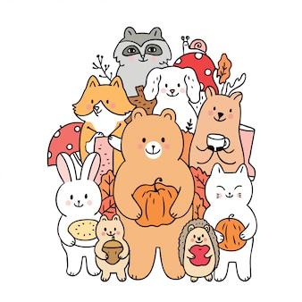 Kreskówek śliczni zwierzęta jesień i owoc wektorowi.