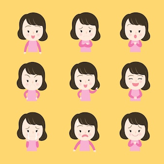 Kreskówek ślicznych akcj twarzy kobiety wektor.