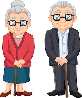 Kreskówek starszych osob para odizolowywająca na białym tle