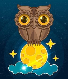 Kreskówka ładny sowa siedzi na księżycu