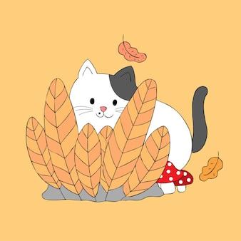 Kreskówka śliczny jesień kot za krzaka wektorem.