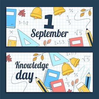 Kreskówka 1 września zestaw poziomych banerów