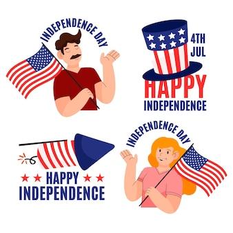 Kreskówka 4 lipca - kolekcja etykiet na dzień niepodległości