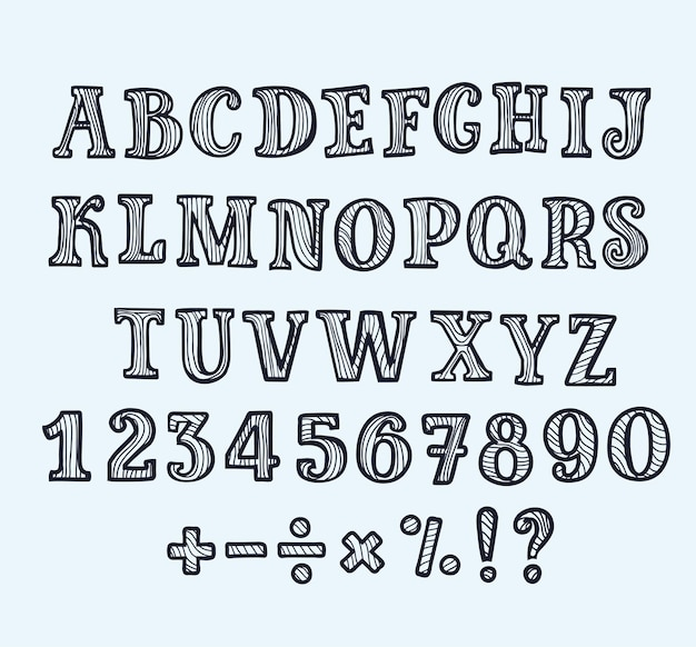 Kreskówka abc kapitału wielkie litery szeryfowe w stylu konspektu czarno-białe.