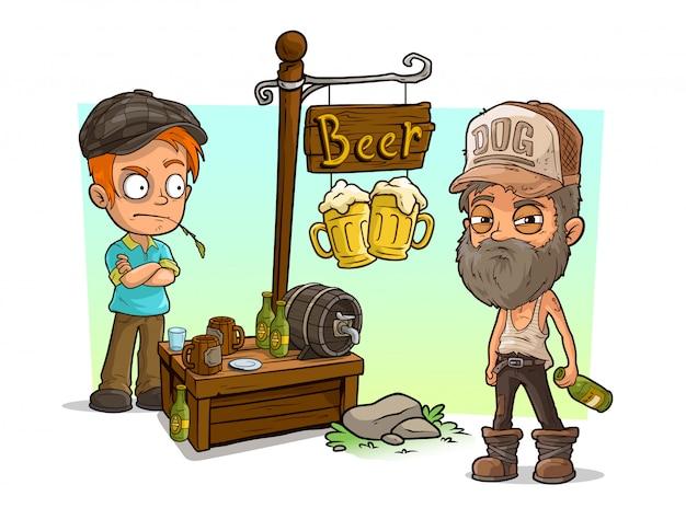 Kreskówka alkoholików i złych facetów ze sklepem z piwem