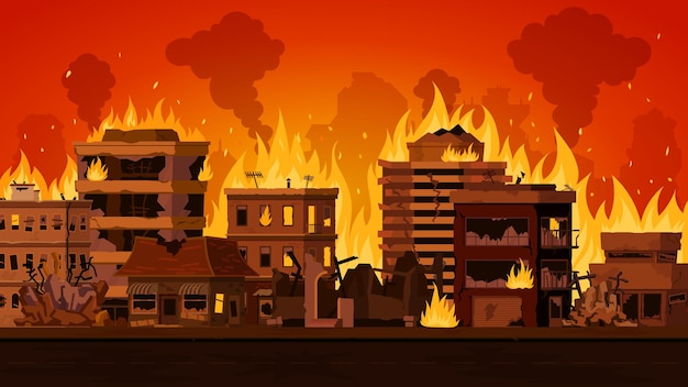 Kreskówka apokaliptyczny krajobraz miasta ze zniszczonym budynkiem w ogniu. pejzaż miejski z palącymi się domami ulicznymi i dymem. pożar w koncepcji wektora miasta