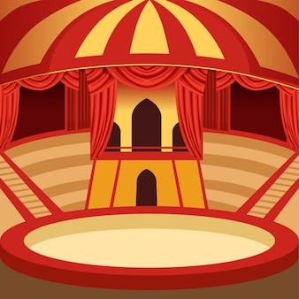 Kreskówka areny cyrkowej. klasyczna scena z kopułą w żółte i czerwone paski, siedzeniami i zasłonami. tło dla plakatu lub zaproszenia.