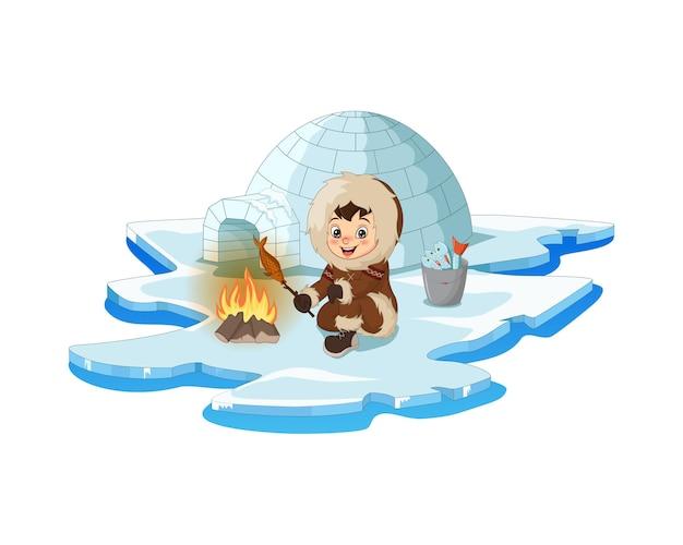 Kreskówka arktyczny eskimo z ogniskiem i rybą