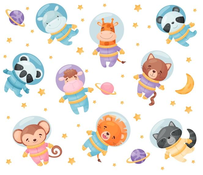 Kreskówka astronauci zwierząt. hipopotam, żyrafa, koala, panda, lew, małpa szop pracz kot owca ilustracja na białym tle