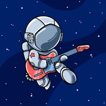 Kreskówka astronauta gra na gitarze w przestrzeni