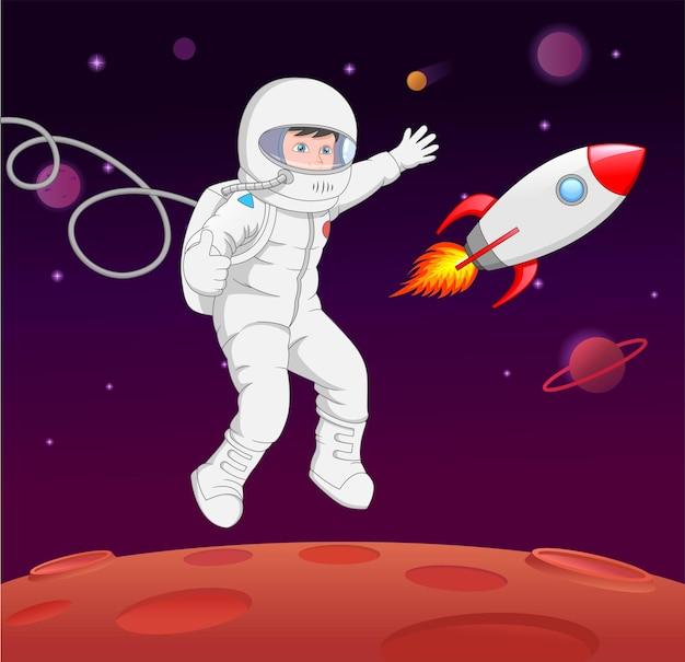 Kreskówka astronauta kosmiczna planeta kciuki w górę