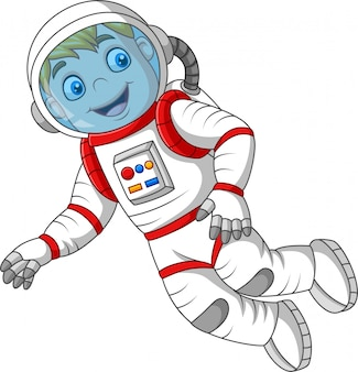 Kreskówka astronauta odizolowywający na białym tle