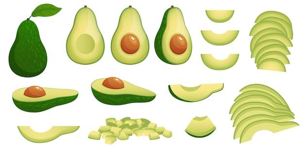 Kreskówka awokado. dojrzałe owoce awokado, zdrowa pożywna naturalna żywność i zestaw ilustracji plastry awokado.