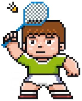 Kreskówka badmintonista - piksel projekt