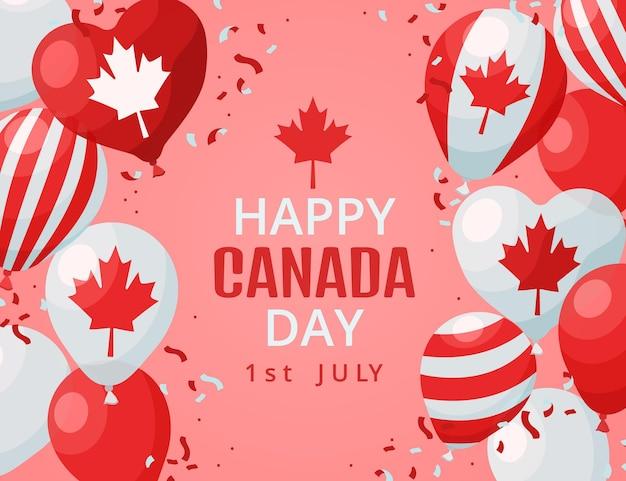 Kreskówka balony dzień kanady tło
