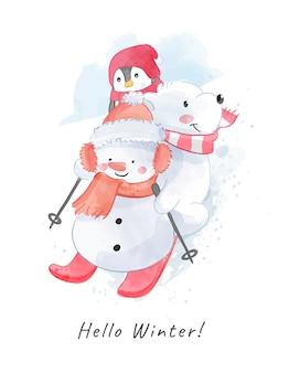 Kreskówka bałwana i niedźwiedź polarny ilustracja na łyżwach