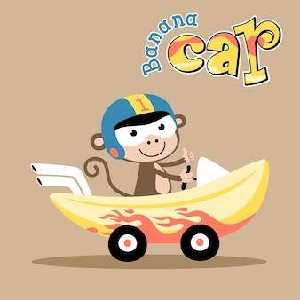Kreskówka banan samochodowy