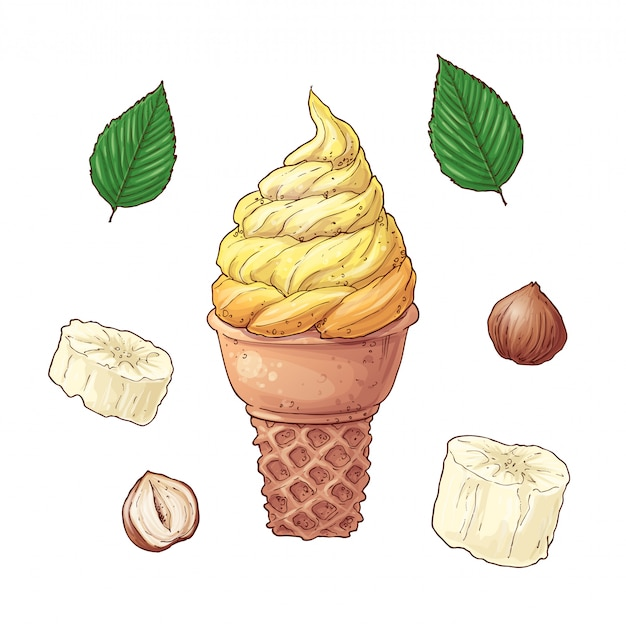 Kreskówka banany i lody