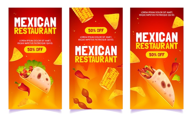 Kreskówka banery meksykańskiej restauracji