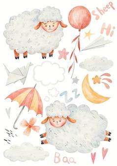 Kreskówka baranek, skacząca owca, parasol, origami, gwiazdy, księżyc, ilustracja akwarela.