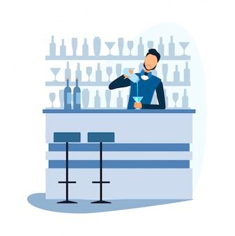 Kreskówka barman przygotowuje koktajl alkoholowy w barze