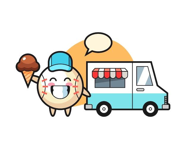 Kreskówka baseball z ciężarówką lodów