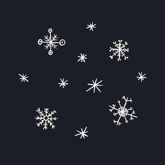 Kreskówka białe świąteczne płatki śniegu na nowy rok projekt, etykiety, kolorowanki, kartki z życzeniami