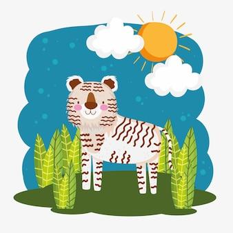 Kreskówka białego tygrysa