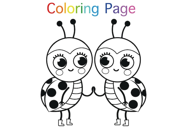 Kreskówka biedronki do kolorowania ilustracji wektorowych aktywności strony