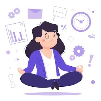 Kreskówka biznes osoba medytuje