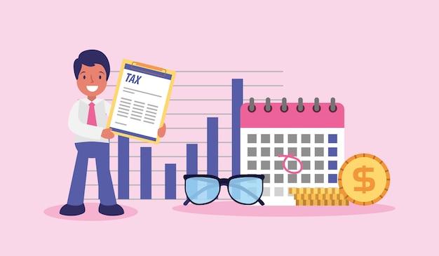 Kreskówka biznesmen dzień podatku