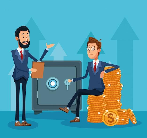 Kreskówka biznesmen i biznesmen siedzi na stosy monet pieniędzy