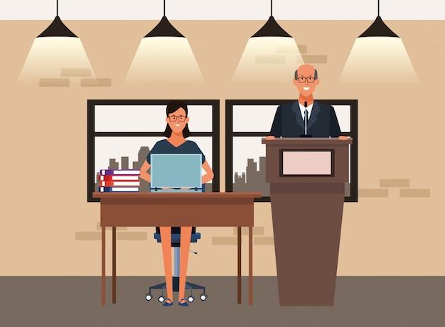 Kreskówka biznesmen i bizneswoman