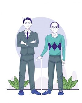 Kreskówka biznesmen i stary człowiek stojący