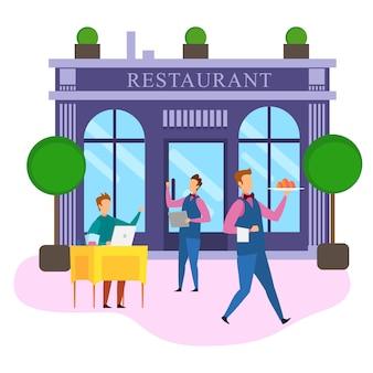 Kreskówka biznesmen notatnik zamówienie jedzenie restauracja