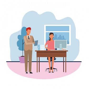 Kreskówka biznesmen pozycja i bizneswoman