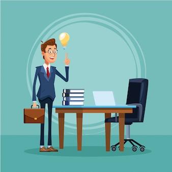 Kreskówka biznesmen stoi przed biurkiem z laptopa i książek