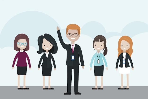 Kreskówka biznesmen stoi przed grupą, podnosząc rękę do góry