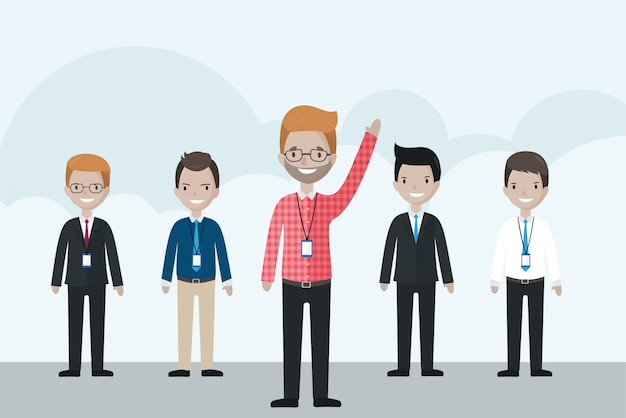 Kreskówka biznesmen stoi przed grupą