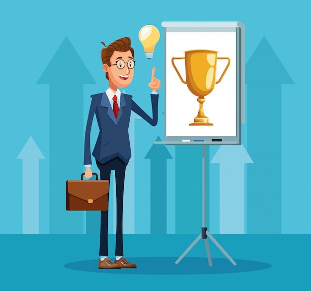 Kreskówka biznesmen stojący wskazując planszy prezentacji z ikoną trofeum pucharu