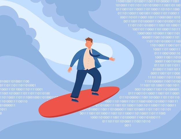 Kreskówka biznesmen surfujący na falach liczb binarnych
