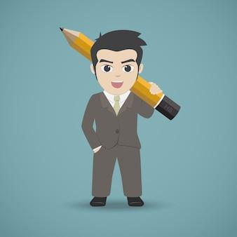 Kreskówka biznesmen trzyma ołówek